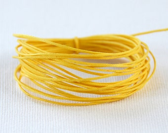 Waxed Cotton String, Cord, .5mm Yellow, 3m length