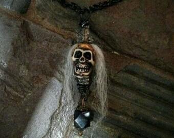 Creepy skull beaded necklace~ tribal fairy witch gothic skull
