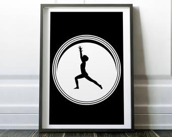 Yoga Print, Yoga Wall Art, Nursery Art, Minimalist, Yoga Art, Yoga Poster, Yoga Pose, Yoga Studio Decor, Digital print, Instant Download