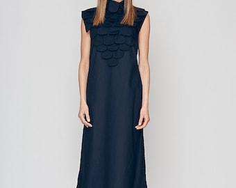 Women's Tunic Dress, Plus Size Tunic Dress, High Collar Dress, A Line Dress, Flare Dress, Loose Dress, Sleeveless Dress, Designer Long Dress