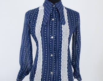 Vintage 70s Womens Small or Medium Navy Blue and White Polka Dot Heart Print Dog Ear Collar Shirt Button Up Blouse