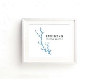 Lake Oconee Georgia Map Wall Art Print - Souvenir Gift Housewarming