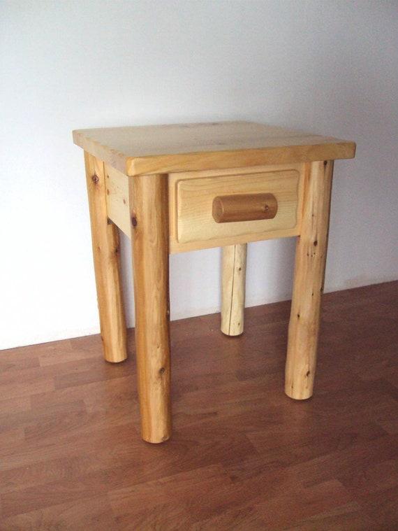 Log 1 Drawer End Table / Nightstand Rustic Furniture Cedar