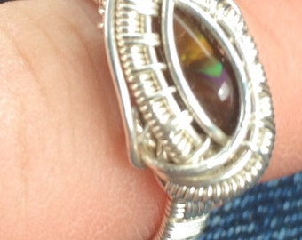 Fire agate wire wrapped ring