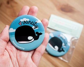 Vancity Orca Whale Round Pocket Mirror - Vancouver Killer Whale Mirror