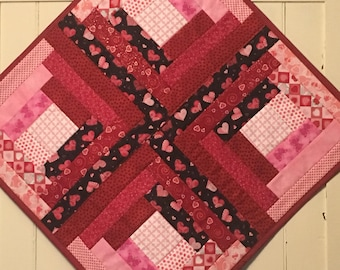 Table Runner, Valentines Day Table Runner, Valentines, Table Topper, Valentines Table Topper, Quilted, Hand made, Candle Mat, Valentines Day