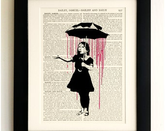 FRAMED ART PRINT on old antique book page - Banksy, Girl with Umbrella, Vintage Upcycled Wall Art Print Encyclopaedia Dictionary Page