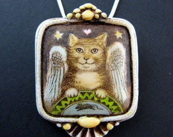 Angel cat with mouse scrimshaw technique pin pendant brooch