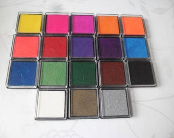 rubber stamp x 18 mixed square 18 length long outfit colors 4 x 4 cm