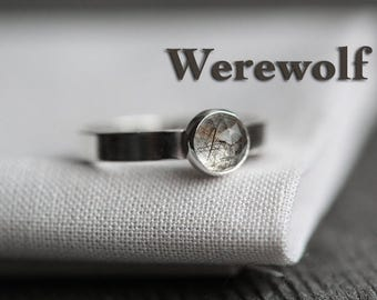 WEREWOLF - secret identity ring. black brown rutilated quartz gemstone. polished sterling silver. stamped message jewelry. personalized band