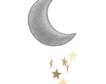Moon mobile grey gold