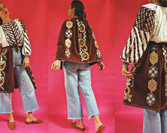 vintage Romanian Metallic Embroidered Ceremonial Velvet Folk Apron / Overskirt / Cape