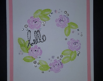 Hello hand stamped card