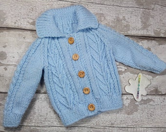 Handknitted Soft Baby Aran Jacket Cardigan with collar wooden buttons in Pale Blue 6-12 months Traditional Cable Knitwear Baby Shower Gift
