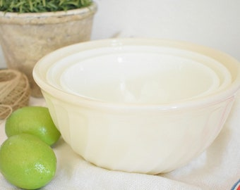 Fire King milk glass swirl nesting mixing bowls - set of 3 bowls