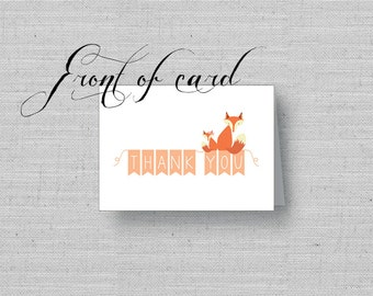 Fox Thank You Notes, Printable Thank you Cards, Fox Baby Shower, Fox Theme Shower, Fox Nursery, Fox Thank Yous