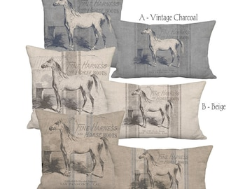 Americana Farmhouse Grain Sack Style Linen Horse Pillow 12x18 12x20 14x26 16x24 16x26 16x 18x 20x 22x 24x 26x 28x Inch Neutral Equine Decor