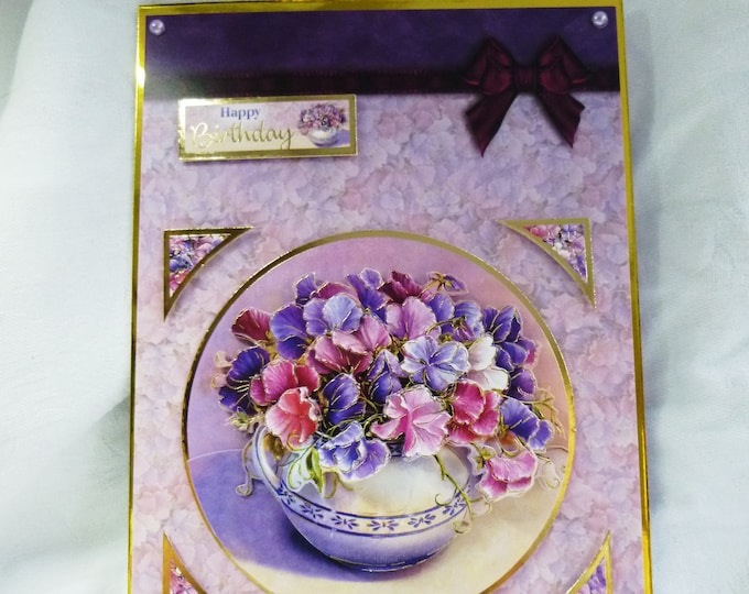 Sweet Peas Flowers, 3 D Decoupage Card, Floral Card, Birthday Card, Greeting Card, Special Day Card, Female, Any Age, Mum, Sister, Daughter
