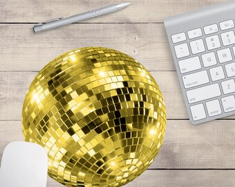 Gold Disco Ball Mouse Pad, Cute Mouse Pad, Sequin Mouse Pad (0005)