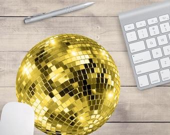 Gold Disco-Kugel Maus-Pad, süße Maus-Pad, Pailletten Maus-Pad (0005)