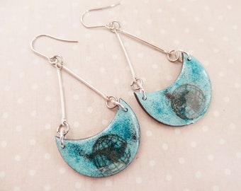 """Earrings stainless steel """"World"""" jewel globe earrings world hemisphere Earth country clay / enamel effect"""