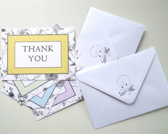Thank You Cards and Envelopes, Set of 8