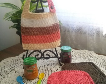 Fall Harvest Hand Knit Baby Bib and Washcloth Set