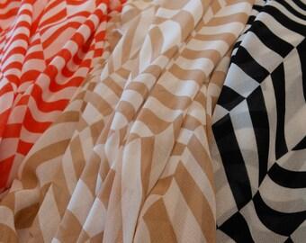 Herringbone/Chevron Printed Sheer Woven Polyester Fabric