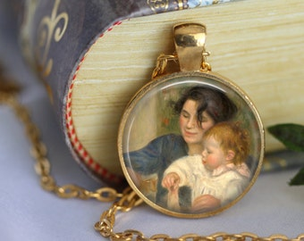 RENOIR Necklace Jewerly Mother Glass Pendant Necklace - Child with Toys - Jewerly Renoir Famous Painting Art Necklace Handmade Pendant (201)
