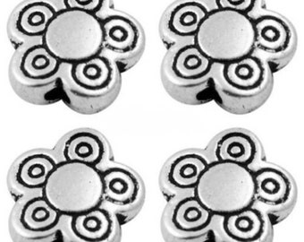20 x Antique Silver Spacer Beads - Flower Beads - Daisy Beads - 10mm x 3mm - SP69