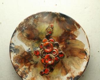 west german pottery plate by Ruscha mushroom decor