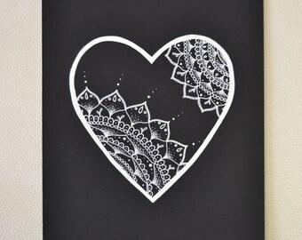 mandala heart print