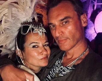 Statement white feather mohawk, festival feather headdress, burning man headdress, feather mohawk headdress, bridal festival headdress