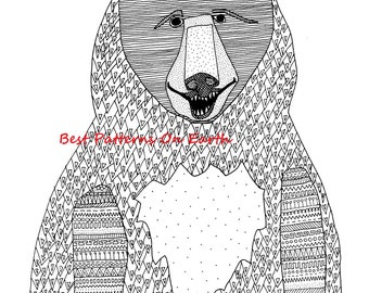 Bear Coloring Page - Zen Bear - Aztek Aztec Bear - Adult Coloring Pages - Kids Coloring Book PDF