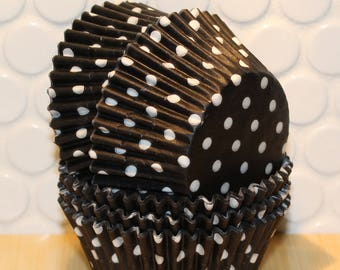 Black Polka Dot Cupcake Liners (Qty 45) Black Polka Dot Baking Cups, Black Cupcake Liners, Black Baking Cups, Black Muffin Cups, Baking Cups
