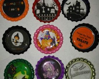 14 Halloween themed bottle cap magnets cupcake toppers refrigerator party favors gitt