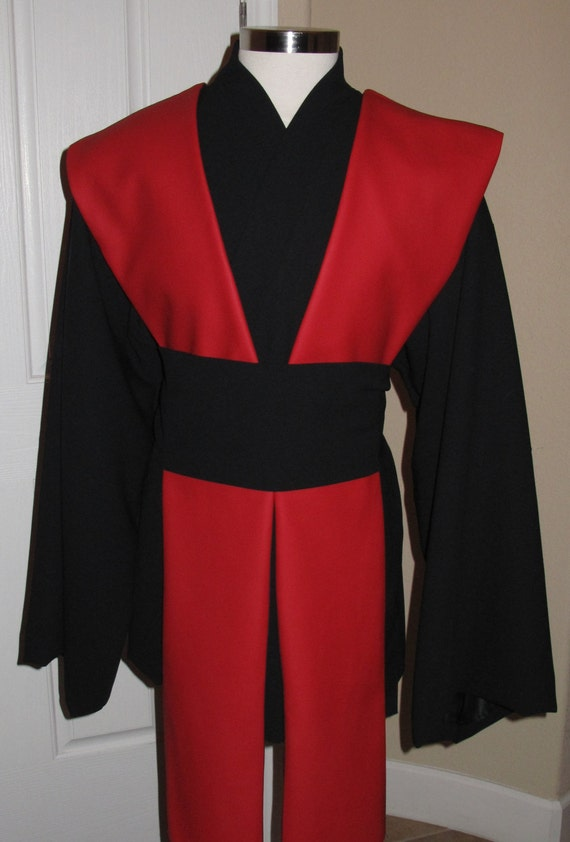 Star Wars black Jedi wool tunic, sash, 4 pcs 100% wool gabardine with poly lining & red pleather tabards