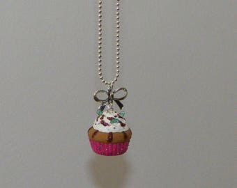 Polymer clay cupcake necklace