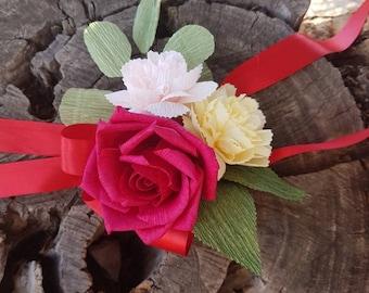 Paper wedding corsage-paper carnation-wedding accessories