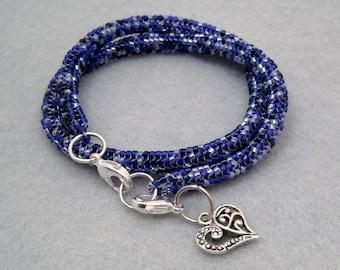 Beaded Wrap Bracelet Necklace - Purple - Detachable Heart Charm by randomcreative on Etsy
