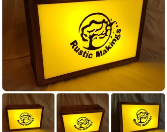 Rustic Personalised Light Boxes Bar Restaurant Cafe Lounge Bedroom