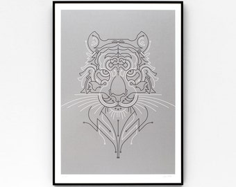 Tiger A2 limited edition screen print, hand-printed in gunmetal silver and black