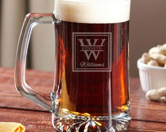 Personalized Beer Mug with Oakhill Design - Includes Name and Initial Engraving - Best Idea for Dad and Beer Lovers on Special Occasions