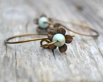 Rustic Flower Open Hoop Earrings Blue Stone Wire