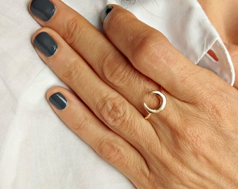 Gold Moon Ring, Gold Antler Ring, Half Moon Ring, Simple Gold Ring, Crescent Moon Ring, Wholesale Rings, Trendy Rings