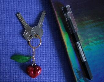 Resin Keychain · Peach & Cherry
