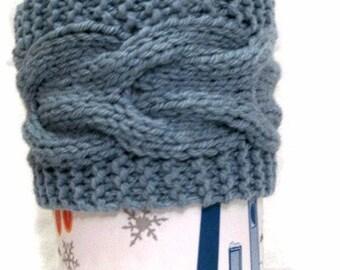 Light Blue Cup Cozy, Blue Hand Knit Cabled Sleeve, Nautical Sea Coffee Tea, Eco Friendly Reusable, Teacher College Graduate