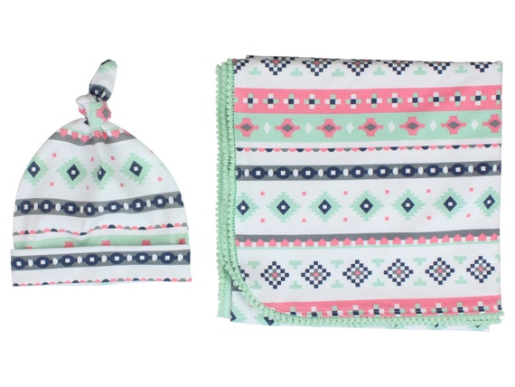 Mint Pink Tribal Newborn Swaddle Set Swaddle Blanket Top Knot Hat Knot Headband Feather Pom Pom Blanket Jersey Swaddle Baby Blanket Aztec