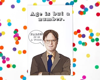 The Office Birthday Card Dwight Schrute (Michael Scott, Jim Halpert, Funny Birthday Card, Humor Card)  (100% Recycled Paper)