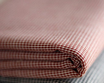3.5 yards NEAT Vintage style RED Check Linen blended, U2327
